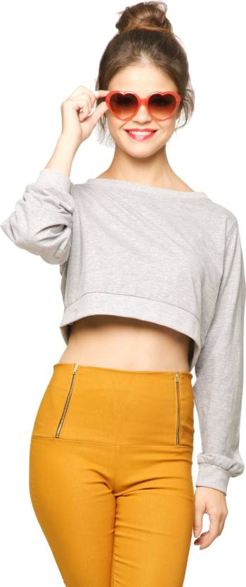 Miss Chase Casual Full Sleeve Solid Women s Grey Top - Buy Grey Miss ... 769e903ee