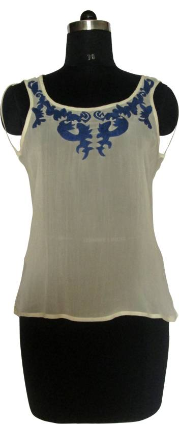 I Am For You Casual Sleeveless Embellished Women's White Top