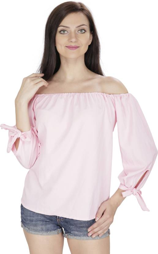 47796bf7dd8 Svt Ada Collections Party 3 4th Sleeve Solid Women s Pink Top - Buy Pink Svt  Ada Collections Party 3 4th Sleeve Solid Women s Pink Top Online at Best  Prices ...
