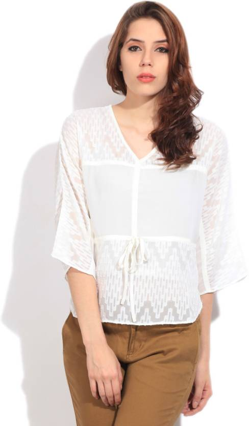 AND Casual Roll-up Sleeve Solid Women's White Top