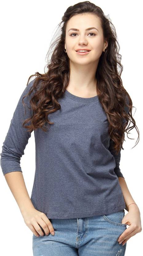 Campus Sutra Casual 3/4th Sleeve Solid Women's Blue Top