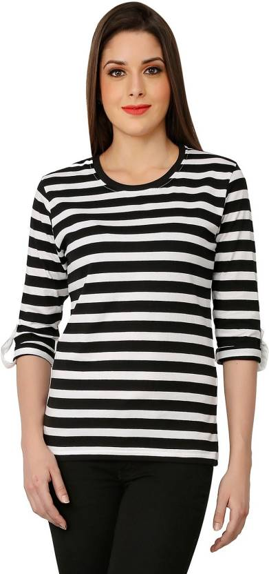 The Cotton Company Casual 3/4th Sleeve Striped Women's White, Black Top