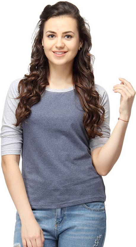Campus Sutra Casual 3/4th Sleeve Solid Womens Grey Top