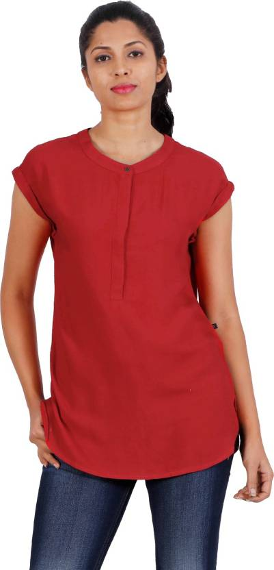 f8a5d0b1714 Estyle Casual Cap Sleeve Solid Women s Red Top - Buy Estyle Casual Cap  Sleeve Solid Women s Red Top Online at Best Prices in India