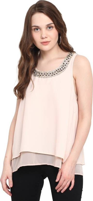 ec62960a89 Mocking Bird Casual Sleeveless Embellished Women s Pink Top - Buy ...