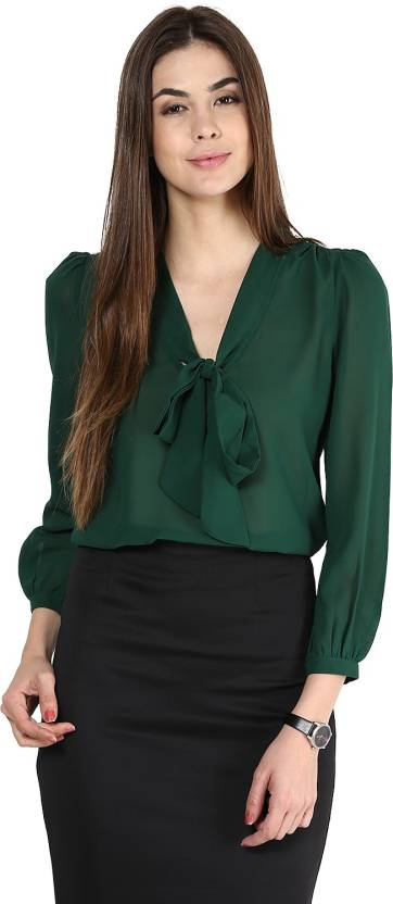 La Zoire Formal Balloon Sleeve Solid Women s Dark Green Top - Buy ... 39d6d345a