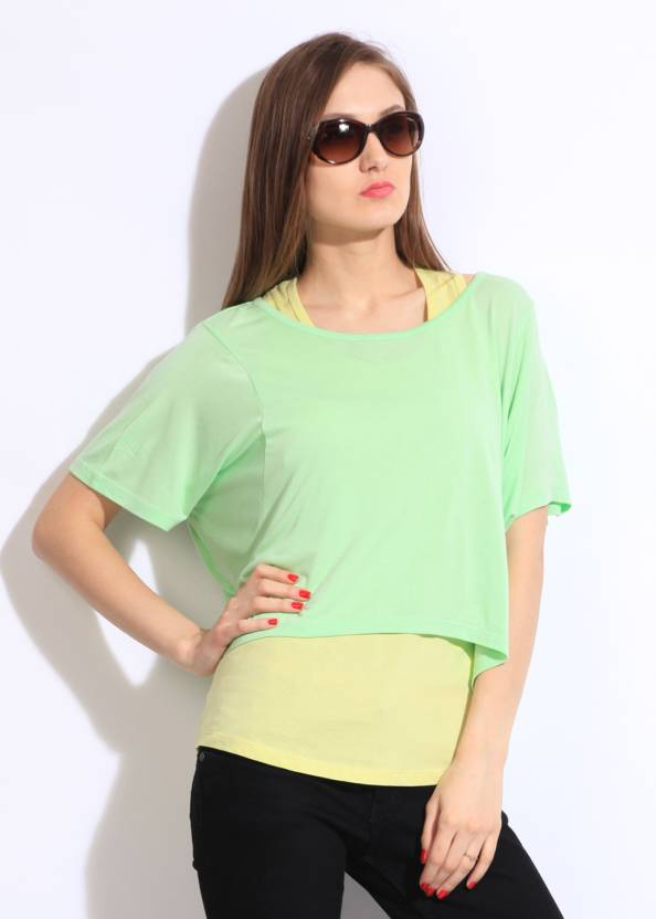 United Colors of Benetton Casual Short Sleeve Solid Women's Yellow, Green Top
