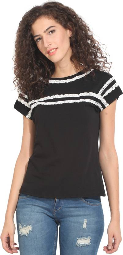 d2b1d460f525b8 Hook & Eye Casual Short Sleeve Solid Women's Black Top - Buy Black Hook &  Eye Casual Short Sleeve Solid Women's Black Top Online at Best Prices in  India ...