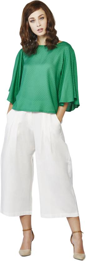 AND Casual Roll-up Sleeve Solid Women's Multicolor Top