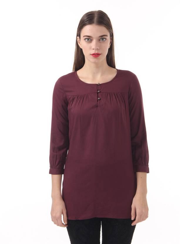 2a29ac9a456f7 Vero Moda Casual 3 4th Sleeve Solid Women s Purple Top - Buy Fig Vero Moda  Casual 3 4th Sleeve Solid Women s Purple Top Online at Best Prices in India  ...