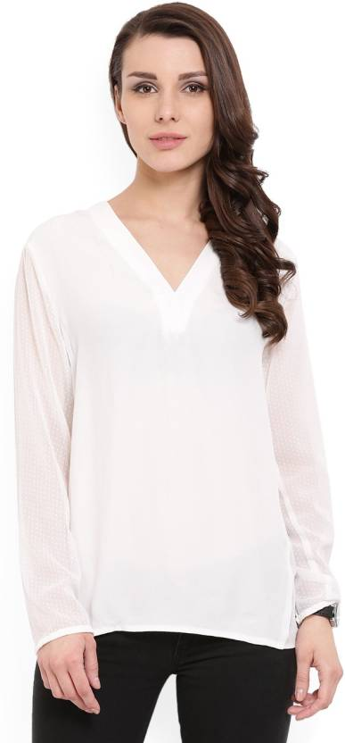 4d7a6938906 MANGO Casual Full Sleeve Solid Women's White Top
