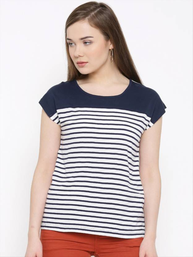 4bc95f6d1eeef Rare Casual Cap Sleeve Striped Women s White