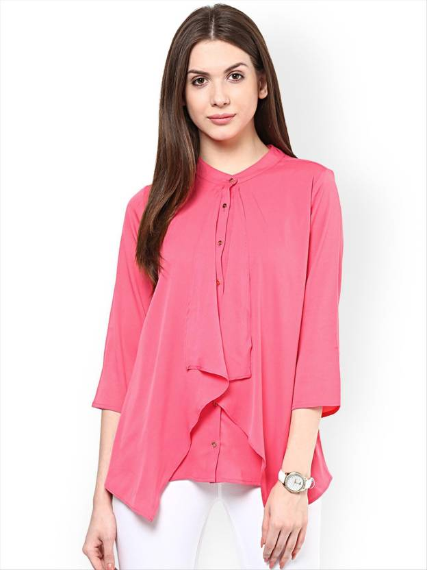 Rare Casual 3/4th Sleeve Solid Womens Pink Top