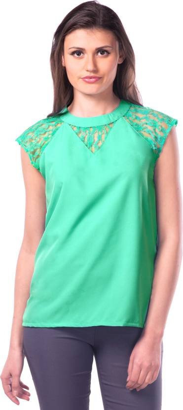 7b776d03b4a53 Miss Chase Party Cap Sleeve Solid Women's Light Green Top - Buy Sea ...