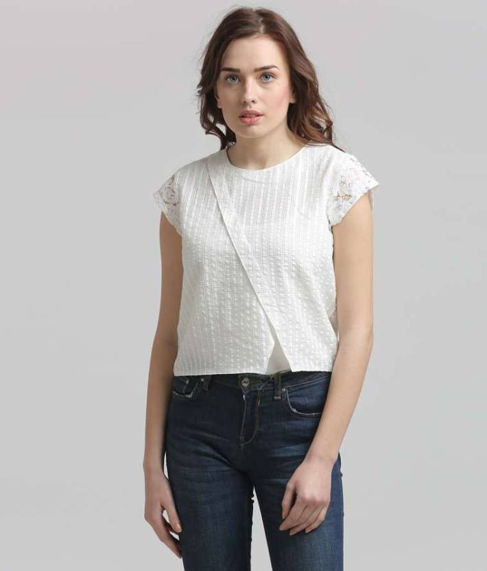 a3ec0ddb6d1 ... Self Design Women s White Top - Buy White Moda Elementi Casual Cap  Sleeve Self Design Women s White Top Online at Best Prices in India