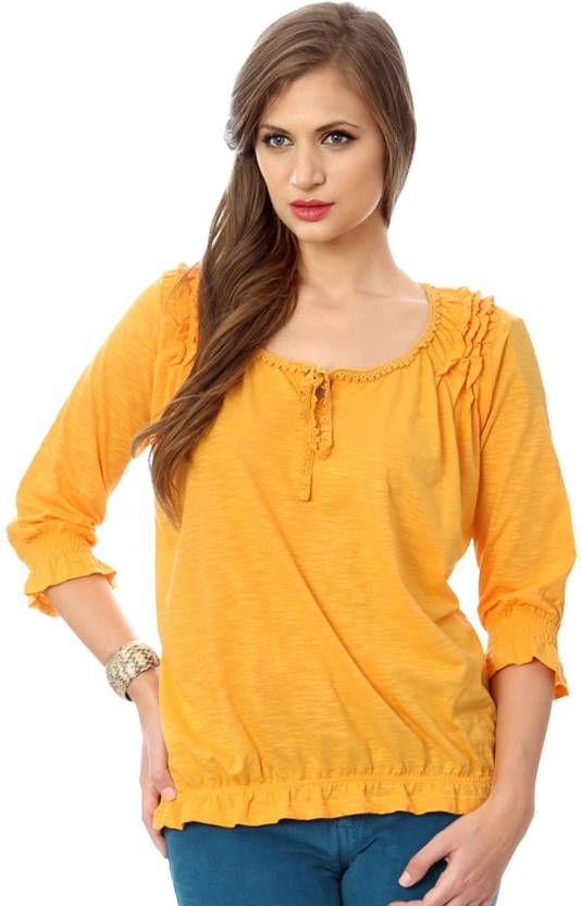 Honey By Pantaloons Casual 3 4th Sleeve Solid Women S Yellow Top