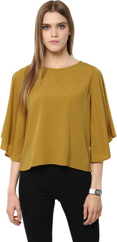 9dd1902aafd Harpa Casual Flared Sleeve Solid Women s Yellow Top - Buy Mustard Harpa  Casual Flared Sleeve Solid Women s Yellow Top Online at Best Prices in India  ...