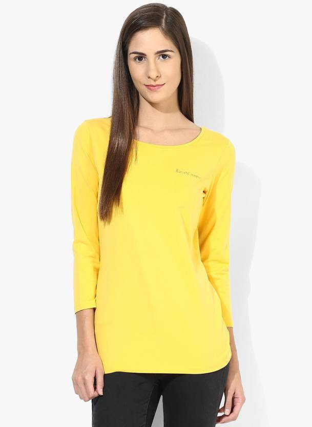 160a8623c23fe T Shirt Company Casual 3 4th Sleeve Solid Women s Yellow Top - Buy Mustard  T Shirt Company Casual 3 4th Sleeve Solid Women s Yellow Top Online at Best  ...