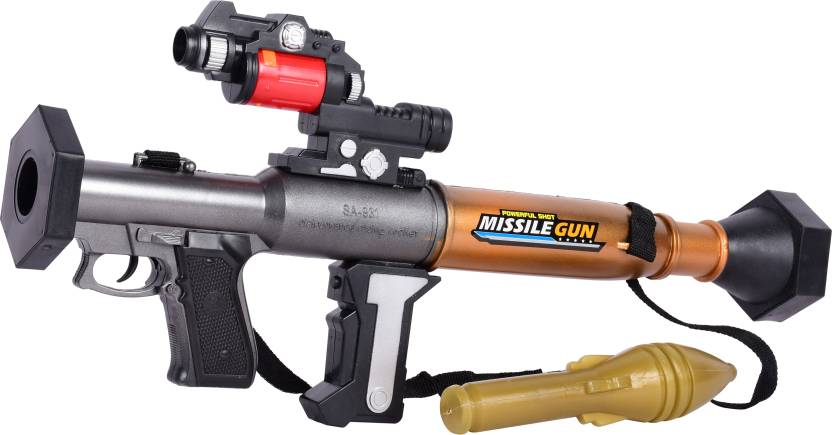 Planet of Toys PROJECTOR ROCKET LAUNCHER GUN WITH MUSIC AND FLASHING