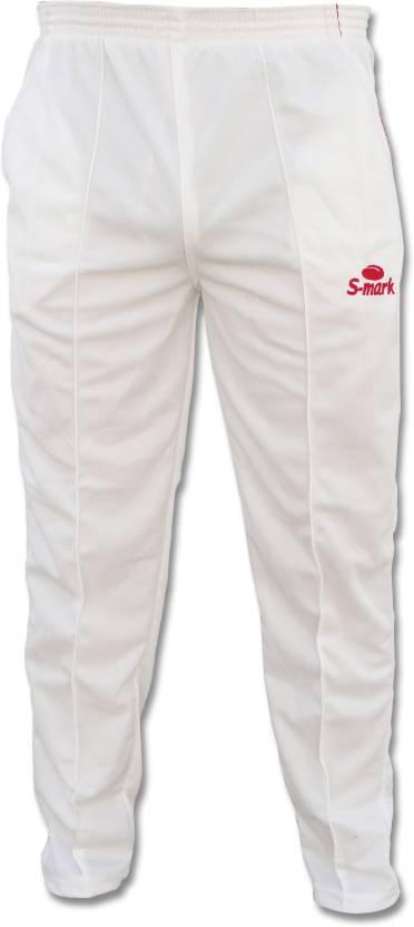 d67aa4528d45 S Mark Cricket Trouser Solid Men s White Track Pants - Buy White S ...