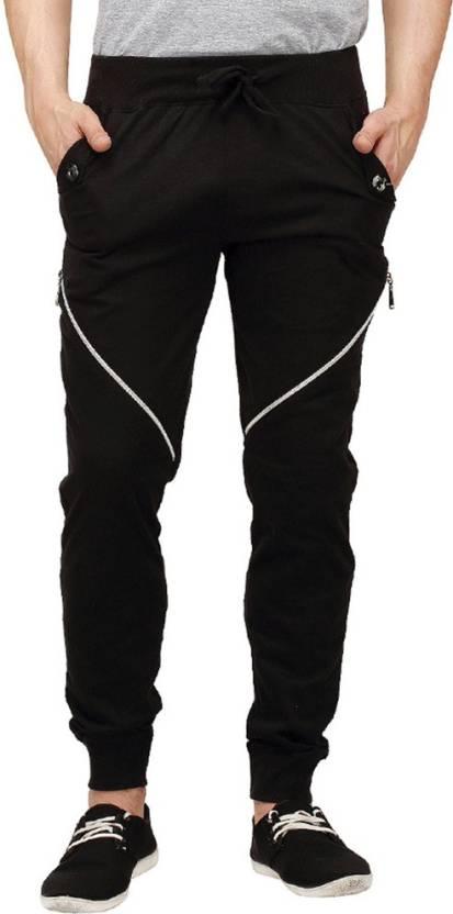 Campus Sutra Solid Men's Black Track Pants