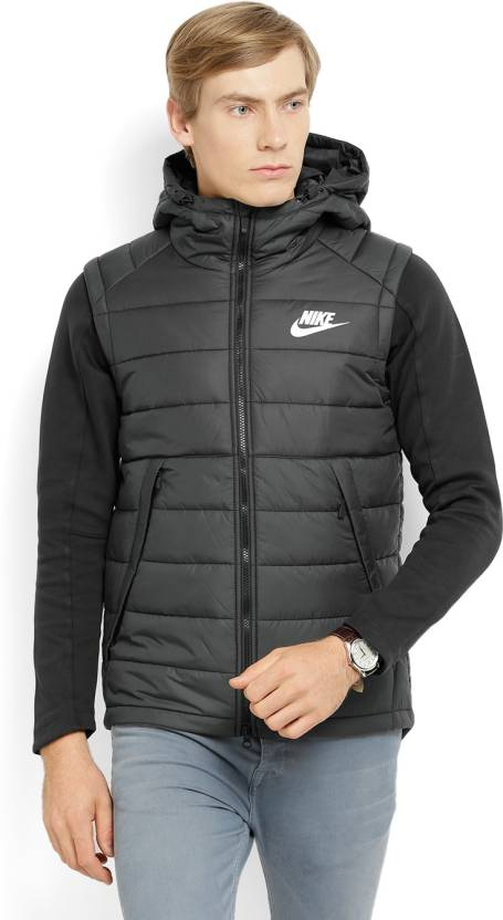 00bf29f7e03f5 Nike Sleeveless Solid Men s Jacket - Buy BLACK BLACK WHITE Nike Sleeveless  Solid Men s Jacket Online at Best Prices in India
