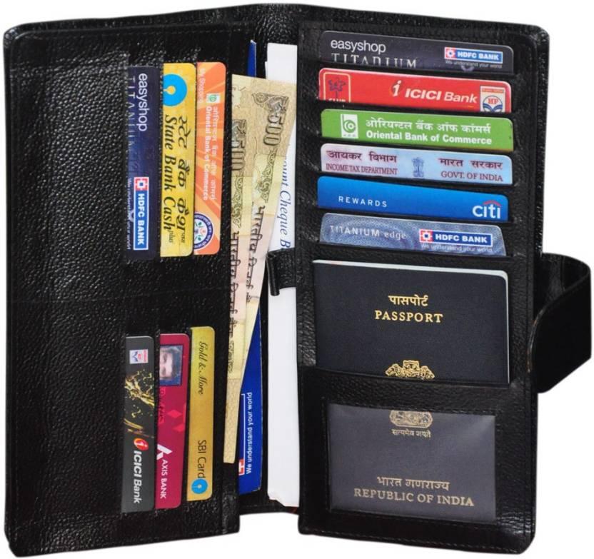 a609bcf6c Gleam 100% Genuine Leather Travel Passport Case   Debit   Credit Card   Cheque Book Holder   Document Wallet  Money Wallet Purse (Black)