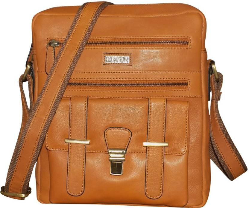 28827582e93a Kan Brown Premium Quality Leather Cross Body Bag Small Travel Bag For Men  and Women