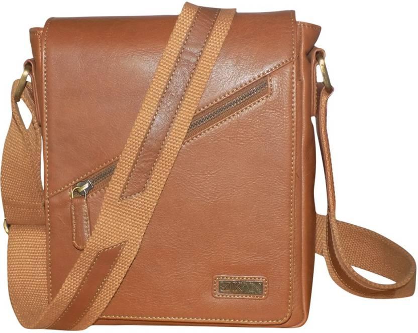 71f4249bdfb Kan Men   Women Casual Brown Genuine Leather Messenger Bag Brown - Price in  India