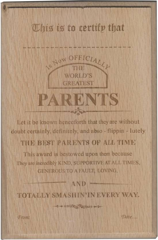 atpata funky world s best parents certificate award trophy price in