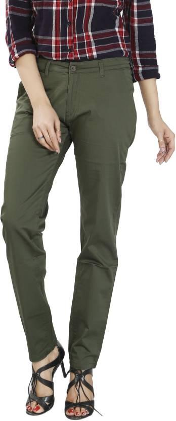 Airwalk Slim Fit Women s Green Trousers - Buy Airwalk Slim Fit ... 4bba35145270