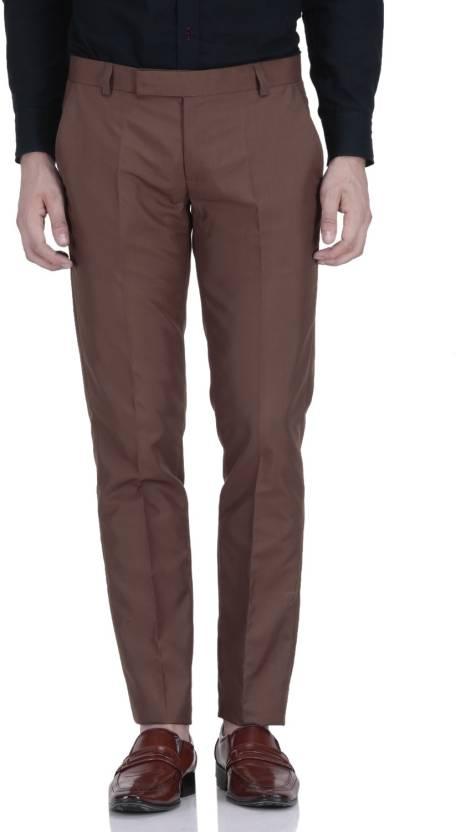 Febulous Slim Fit Men's Brown Trousers