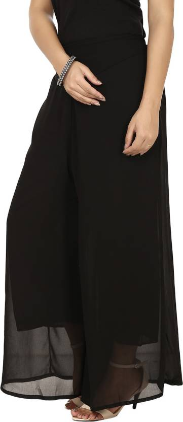 G & M Collections Regular Fit Womens Black Trousers