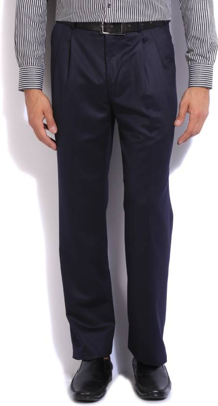 f2a3ef4ce2c Raymond Slim Fit Men s Black Trousers - Buy Medium Blue Raymond Slim Fit  Men s Black Trousers Online at Best Prices in India