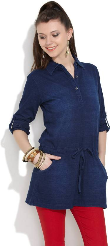 a221d28ac8d Riot Jeans Solid Women s Tunic - Buy Dark Blue Riot Jeans Solid ...