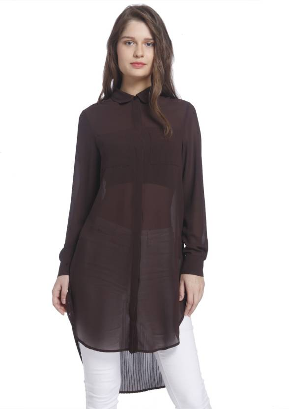 846cca0ea069 Vero Moda Solid Women s Tunic - Buy Chocolate plum Vero Moda Solid Women s  Tunic Online at Best Prices in India