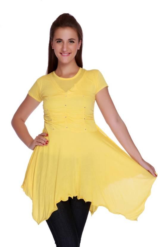 TeeMoods Solid Women s Tunic - Buy Yellow TeeMoods Solid Women s ... df48a1b132