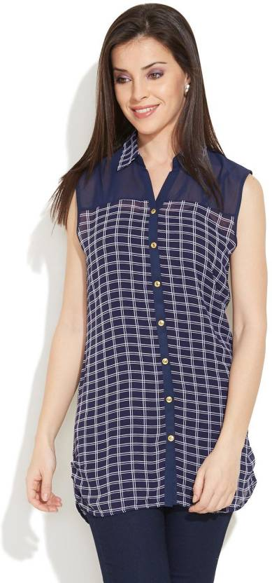 97f91a29fd7 Deal Jeans Checkered Women's Tunic - Buy Dark Blue Deal Jeans Checkered Women's  Tunic Online at Best Prices in India | Flipkart.com