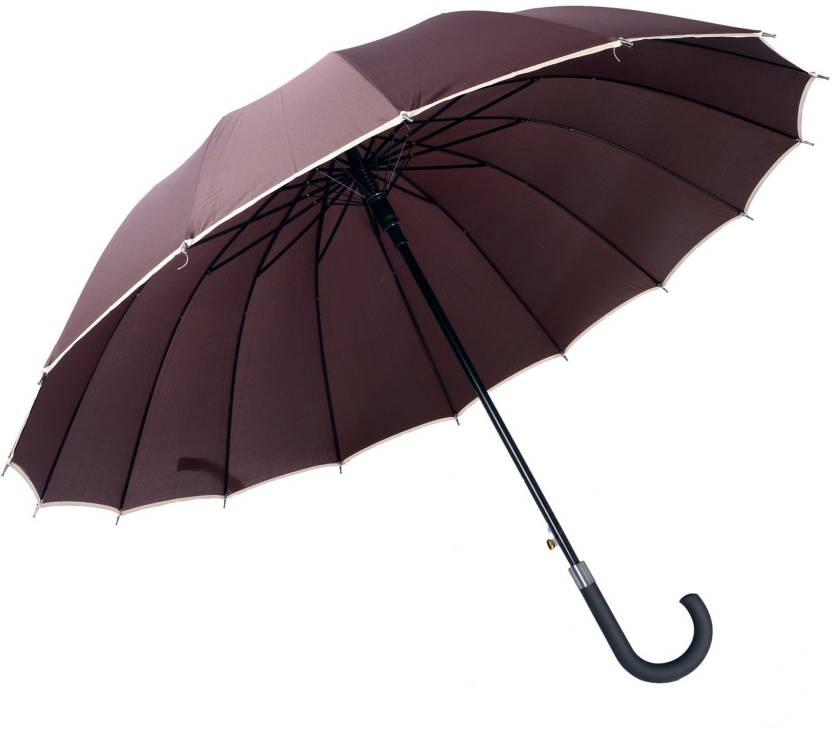 e7ed1edfbf298 Skys & Ray Full size &colour COFFEE BROWN WITH WHITE BORDER Umbrella  (Brown, White)