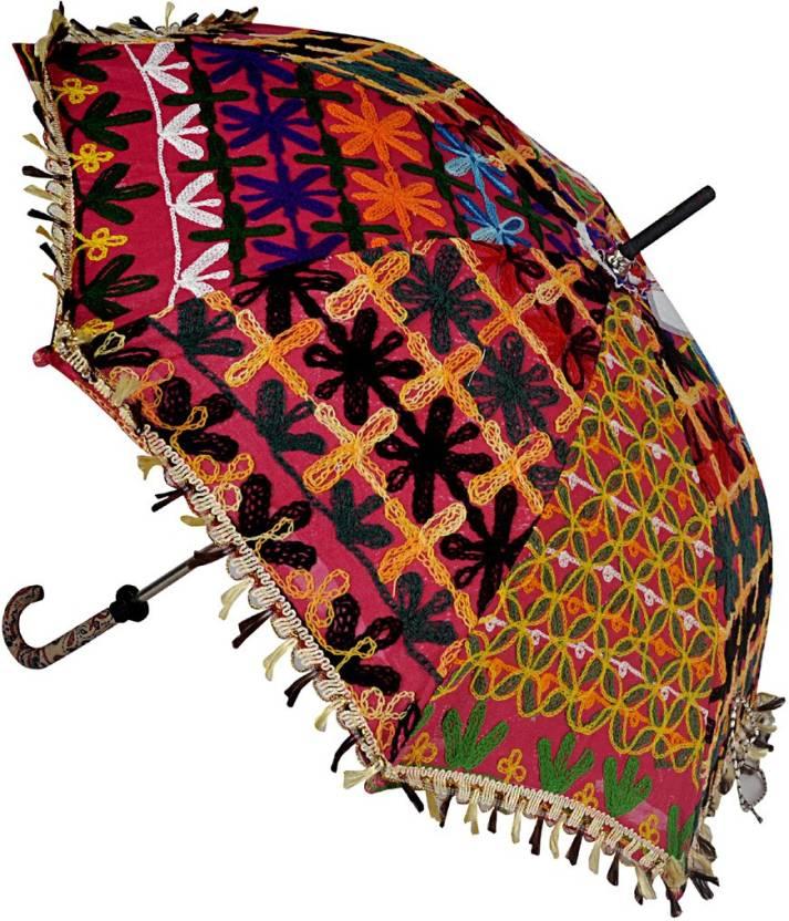 8f899056c85a3 Lal Haveli Handmade Designer Fashionable Cotton Single Fold Umbrella (Pink)