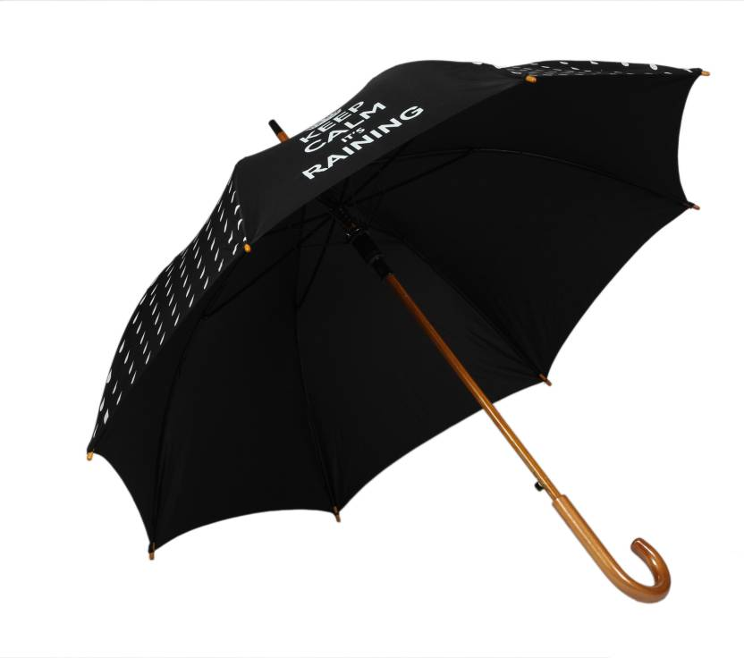 TELLO Single Fold Keep Calm Umbrella Black Umbrella - Buy TELLO