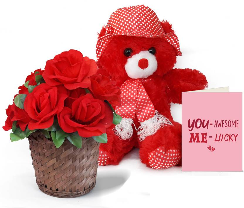 Tied Ribbons Valentine Surprise Gift For Wife Teddy Bear Bamboo