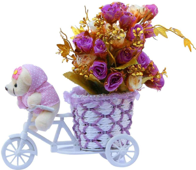209 & Anishop Beautiful Flower Vase Basket Cycle With 1 Small Tedy ...