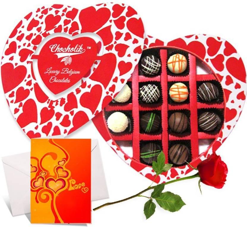 Chocholik Valentine Day Gift 12pc Heart Shaped Chocolate Box
