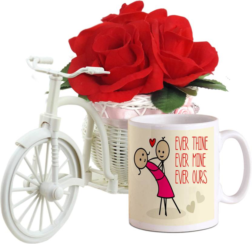 Tied Ribbons Valentine Day Special Gifts For Husband Cycle Vase With