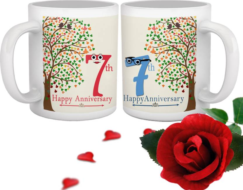 Tiedribbons 7th Marriage Anniversary Special Mug Gift Set