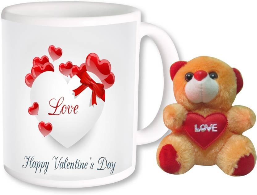 Photogiftsindia Happy Valentine Day Coffee Mug With Teddy Combo 214