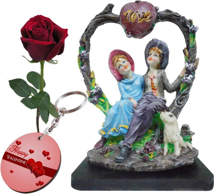 Sky Trends Valentine Gift Nice Lover S Statue Keychain Rose Best