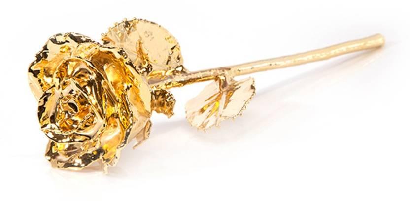 DIZIONARIO Genuine Real Gold Dipped Golden Rose Showpiece
