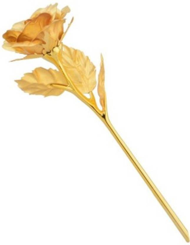 Bajya Real Gold Dipped Golden Rose Decorative Showpiece - 15